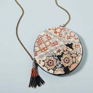Anthropologie Florence Beaded Round Pouch NEW